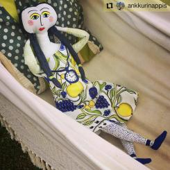 #Repost @ankkurinappis • • • • • • Huh hellettä 🌞 heatwave 🌞#kuovi #eevamolla #birgerkaipiainen #design #clothdoll #doll #molla #diy #crafts #retro #orchard #colorful