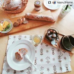 #Repost @kaoru3home • • • • • • * * お昼〜☺️🥖🍊🥝 ・ ・ #おうちの時間 #おうちカフェ #北欧インテリア #kuovi キッチンタオル #birgerkaipiainen #textile #home #kitchen #linen #tapestry #brown #customerphoto